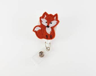 Fox - Felt Badge Reel - Nurse Badge Reel - RN Badge Reel - Retractable Badge Clip - Name Badge Holder - ID Badge Reel - Pediatric Badge