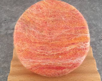 Felted Soap - Shades of Orange and Pink in a Lime Ginger Fragrance