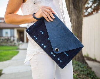 Indigo Blue Maxi-clutch, Envelope, Leather clutch, Canvas and leather wrists, African inspiration.
