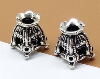2 Sterling Silver Bead Cones, 925 Silver Bead Caps, Oxidized Sterling Silver Bead Spacers - TZ824