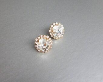Bridal crystal stud earrings, Swarovski crystal bridal stud earrings, Swarovski earrings, Bridal rhinestone earrings, Post earrings