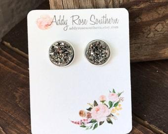 12mm dark silver druzy earrings in silver, druzy studs, druzy earrings, silver druzy earrings, bridesmaid druzy earrings