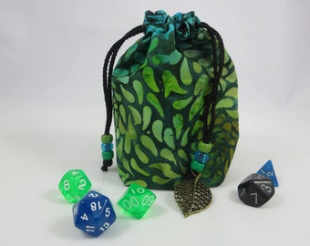 MEDIUM Size / Fabric Bag / Drawstring Pouch / Dice Bag / Gaming Bag /  Gift Bag /Green with Leaves