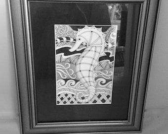 "Black and White, SeaHorse, Framed original art, Zentangle sea horse, 10""x13"" silver tone frame, black mat, glass, original drawing"