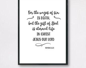 Romans 6:23, Christmas Bible Verse, Romans 6v23 print, Romans Bible Print, Bible Verse Romans 6, Xmas Bible Verse, Bible Verse Poster Romans