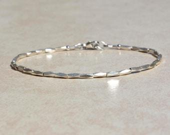 Karen Hill Tribe Silver Bracelet, Beaded Stack Bracelet, Gift for Her, Delicate Dainty Silver Bracelet, Simple Stacking Bracelet, Gift