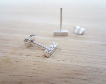 PONDUS Small Stud Earrings - Silver Bar Earrings - Silver 3D Bar Studs - Textured Bar Earrings - Geometric Earrings - Sterling Minimal Studs