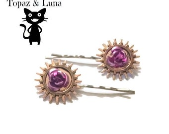 Steampunk hair clips, bobby pins, pink rose