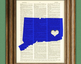 My Heart is in Connecticut state map awesome upcycled vintage dictionary page book art print