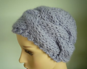 Pale blue hand knit cabled hat, wool and alpaca