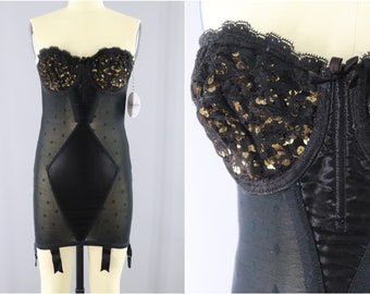 Vintage 1960s Corselette Body Shaper / Lily of France Strapless Shapewear Bustier / Gothic Burlesque Shape Wear Foundation Garment
