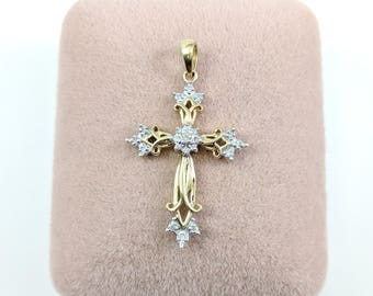 Gorgeous! Vintage Gold Cross 10k Gold Diamond Cross Pendant Christian Jewelry Solid Yellow Gold & White Gold Accents Very Pretty Design