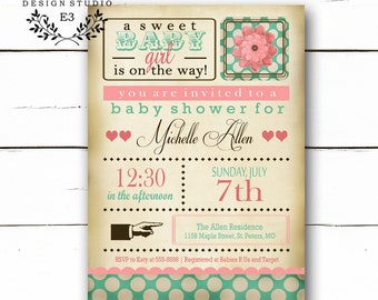 Shabby Chic Baby Shower Invitation - Baby Girl Shower Invite - Vintage Pink and Turquoise - Polka Dots #1042