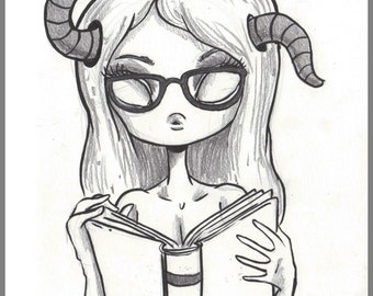 Day #177 - Bookworm - original sketch a day drawing! 5.5 x 8.5