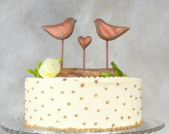 Bronze Engagement Topper, Wedding Cake Topper, Love Birds Keepsake, Bronze Anniversary Gift, 8th Anniversary Gift/ Metallic Cake Topper
