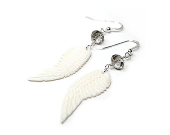 Carved wings, sterling silver, earrings, Womans, long earrings, carved bone, handcrafted, dangle, summer style, bohemian, Free shipping!