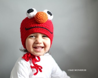 Elmo Hat, Toddler hat, Baby Hat, Winter hat, Toddler costume, Toddler Halloween Costume