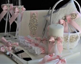 Pink Wedding Accessories, Pink Flower Girl Basket, Pink Ring Bearer Pillow, Blush Pink Bearer, Blush Wedding Basket, Pink Wedding Pillow