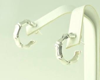 """Sterling Silver Bamboo Look 3/4 Hoop Earrings 7/8"""" (7.7 grams tw)"""