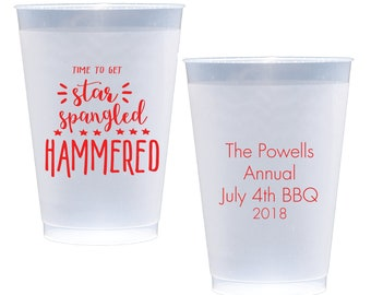 Star Spangled Hammered 4th of July Shatterproof Party Cups - Wine Cups -  July 4th Cocktails - Personalized 4th of July Cup - Star Spangled