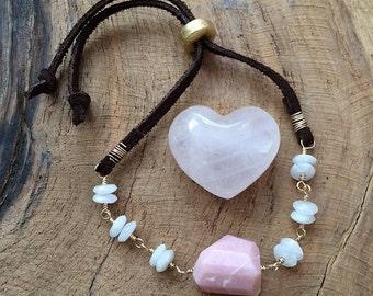 Moonstone Bracelet / Pink Peruvian Opal Bracelet / Gemstone Bracelet / Bohemian Bracelet / Leather Bracelet