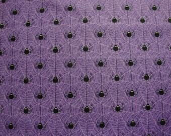 Black Spiders & Webs-Purple B/G by Wilmington Prints-BTY