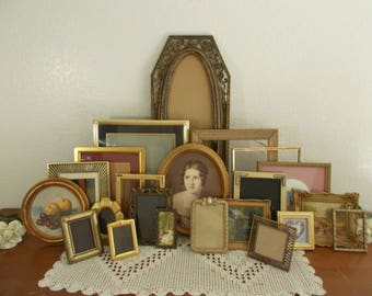 Large Vintage Gold Picture Frame Set Photo Gallery Collection Mid Century French Country Farmhouse Shabby Chic Cottage Home Decor Wedding