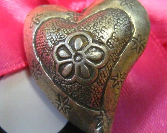 SALE  Sterling Silver Hill Tribe Large Patterned Heart Bead