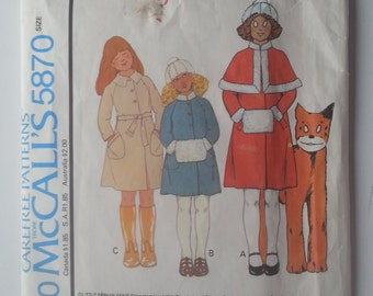 McCall's 5870 Vintage Little Orphan Annie's Clothes Line Coat Hat Caplet Muff Sewing Pattern size 10