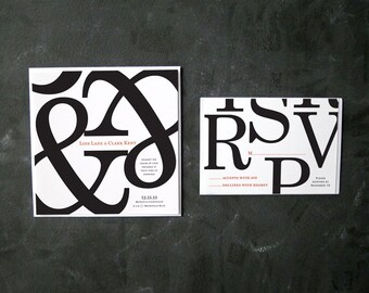 Lois and Clark - Bold Typographic Invitations and RSVPs