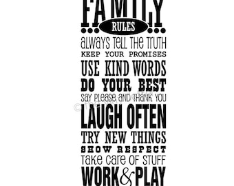 Family Home Rules Subway Vinyl Wall Decal Sticker