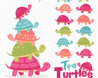 Professional Turtle Stack Clipart in Bohemian - Turtle Clipart, Turtle Vectors, Bohemian Turtles