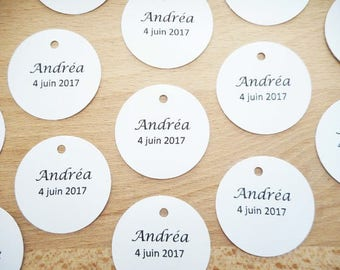 Lot 20 round tags to personalize, black text, wedding, christening, mark up table married, paper label custom welcome