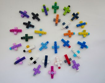 Cross Pendant Made with Lego Bricks - Key Chain or Pendant Cross - First Communion Easter Basket Gift