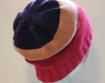 Striped beanie/slouch/toque hat in cashmere/merino/cotton, stripe pattern purple/beige/heather/red/fuchsia (large)