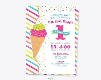 Ice Cream Party Invitation - Printable Invites - 1st 2nd First Birthday Summer - Pink Purple Green Blue Yellow Orange