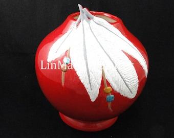 Red Ceramic Feather Vase