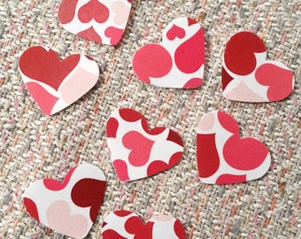 "Hearts, 1"" ~ Red & Pink Hearts on Hearts Valentine Confetti Mix, Color on Both Sides, Baby Shower, Wedding, Flower Girl Toss"