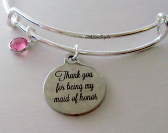 Thank You For Being My Maid Of Honor Charm Bracelet W/ Birthstone Drop / Bridesmaid Bangle / Wedding Party Gift For Her USA # S1 - 05