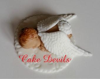 Fondant Mermaid Baby Shower Cake Topper Baby Girl Sleeping