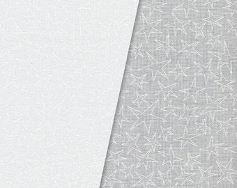 White on White Stars Fabric, Maywood Studios Solitaire Whites V, MAS 209-SW Rockin Stars, White Quilt Fabric, Cotton Yardage