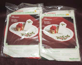 Set of 2 Christmas Placemat and Napkin Set Needlecraft Embroidery Kits, Needlecraft Corporation of America #1495 Holly