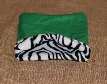 MEDIUM Green Zebra pouch for small pets- Guinea pigs, Rats, Rodents, Hedgehogs, Chinchillas...