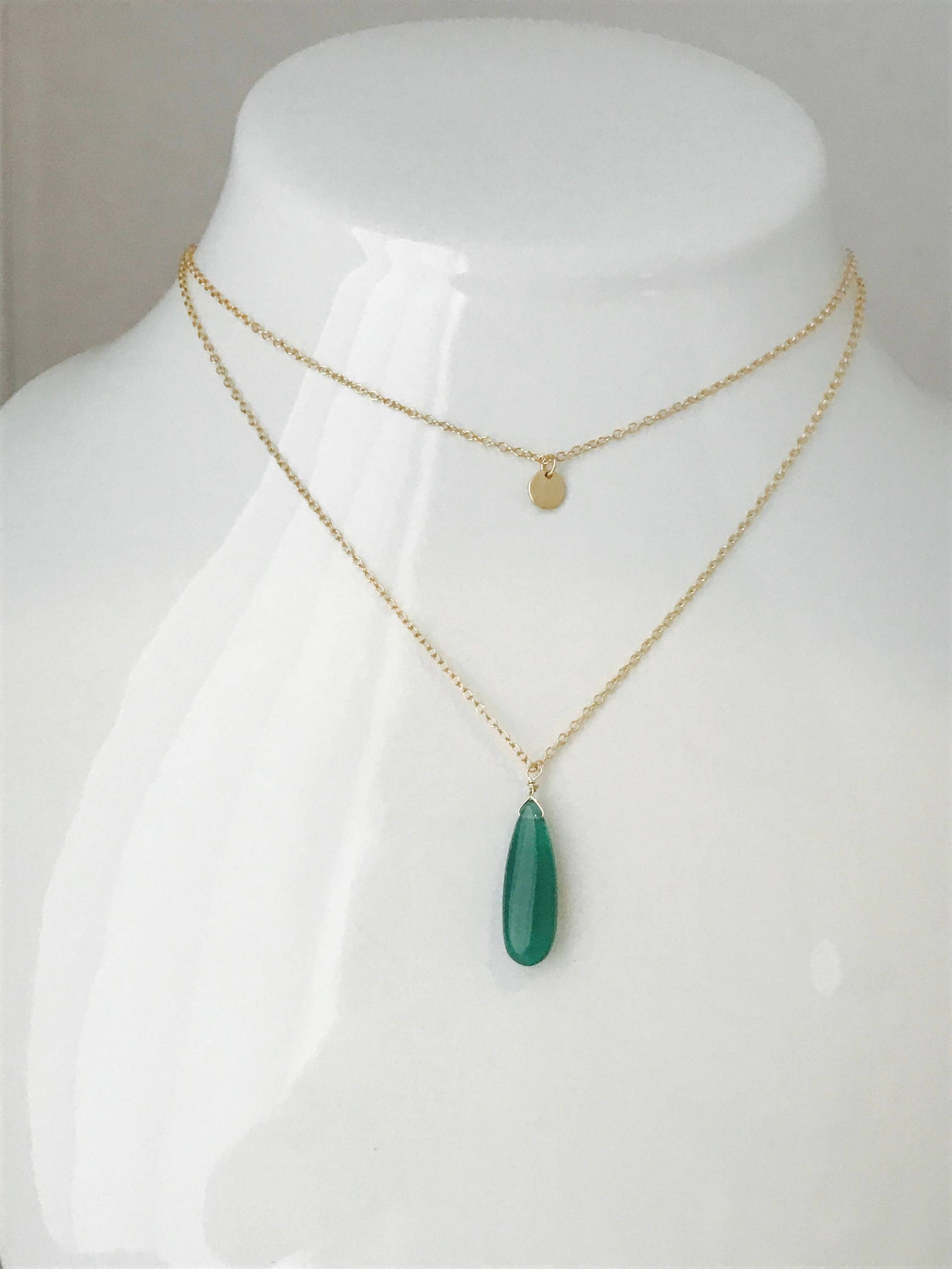 sbn evergreen with balls onyx green necklace beaded golden