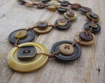 Button Necklace in brown and mustard with surgical steel - OOAK