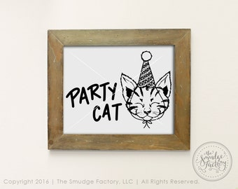 Kitten Printable, Party Cat, Kitten Party Decor, Cat Print, Cat Clipart, Hand Drawn Kitty, Kitty Cat Birthday Party, Graphic Overlay