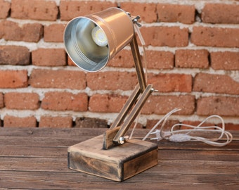 Office lamp Wooden desk lamp Handcrafted gift Reading lamp Bürolampe Modern lamp
