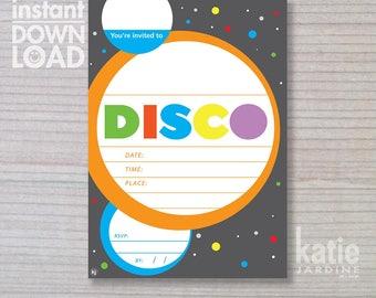 instant invitation - Disco invitation - boys invitation - Disco - childrens invitation  - Disco party - downloadable