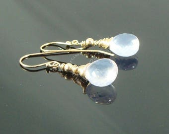 AAA Grade Microfaceted Lavender Quartz and Gold Fill Wire Wrapped, Short, Dangle Earrings
