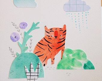 Timid Tiger Original Collage Art